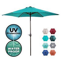 Abba Patio Outdoor Patio Market Table Umbrella with Push Button Tilt and Crank, 9-Feet, Teal Blue
