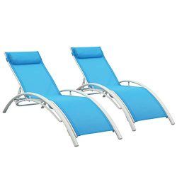 Ainfox Adjustable Chaise Lounge, Patio Reclining Elegant Lounge Chair Recliners Aluminum Sunbath ...