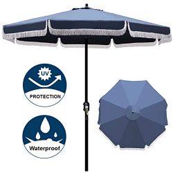 Blissun 9′ Outdoor Patio Umbrella with Fringe, Aluminum Manual Push Button Tilt and Crank  ...