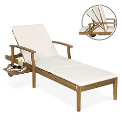 Best Choice Products 79x30in Acacia Wood Chaise Lounge Chair Recliner, Outdoor Furniture for Pat ...