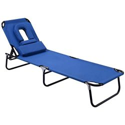 GYMAX Lounge Chair Folding Patio Lounge Chaise Chair Adjustable Beach Chair Recliner with Hole f ...