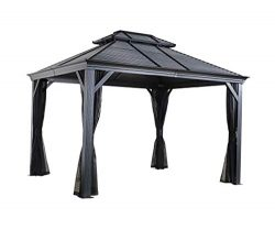 Sojag 10′ x 12′ Mykonos Double Roof Outdoor Hardtop Gazebo, Dark Grey