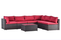 Gotland 7pcs Outdoor Sectional Sofa Patio Furniture Cushion Cover Set,Only Covers(Red) -Incl.6 S ...