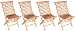 Zenvida Teak Wood Folding Patio Dining Chair Set of 4 (4 Chairs)