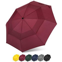 G4Free Compact Travel Umbrella Vented Windproof Double Canopy Auto Open/Close Folding Umbrella w ...