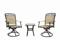 Patio Bistro Table Set 3 Piece Swivel Rocking Chairs Patio Garden Backyard Outdoor Patio Furnitu ...