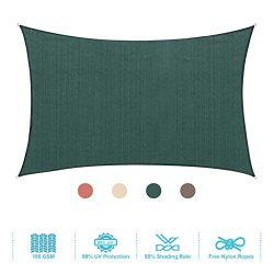 PHI VILLA Sun Shade Sail Rectangle 12'x16′ Dark Green Patio Canopy Cover – UV  ...
