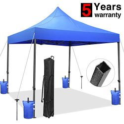 Tentking Ez Pop-Up Canopy Tent 10 x 10 ft Blue, Commercial Instant Shelter Market Stall Canopy w ...