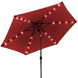 Sorbus LED Outdoor Umbrella, 10 ft Patio Umbrella LED Solar Power, with Tilt Adjustment and Cran ...