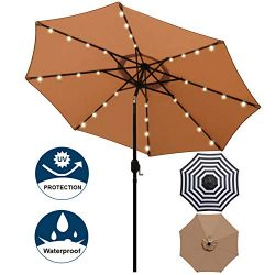 Blissun 9 ft Solar Umbrella 32 LED Lighted Patio Umbrella Table Market Umbrella with Tilt and Cr ...