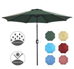 Patio Watcher 9 Feet Patio Umbrella Outdoor Umbrella with Push Button Tilt and Crank for Market, ...