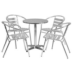 "Flash Furniture 23.5"" Round Aluminum Indoor-Outdoor Table Set with 4 Slat Back Chairs"