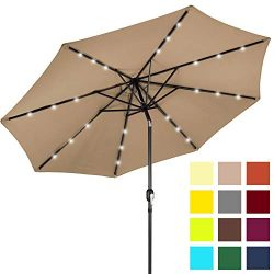 Best Choice Products 10ft Solar LED Lighted Patio Umbrella w/Tilt Adjustment, Fade-Resistant Fab ...