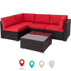 Walsunny Outdoor Black Rattan Sectional Sofa- Patio Wicker Furniture Set Conversation Sets with  ...