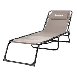 KingCamp Patio Lounge Chair Chaise Bed 3 Adjustable Reclining Positions Steel Frame 600D Oxford  ...