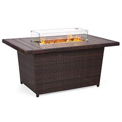 Best Choice Products 52in Outdoor Wicker Propane Gas Fire Pit Table for Patio, 50,000 BTU w/Alum ...