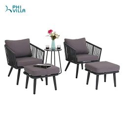 PHI VILLA 5-Piece Patio Sofa Set All-Weather Weave Outdoor Furniture Wicker Lounge Chair & O ...
