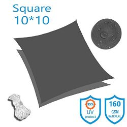 KUD Shade 10'x10′ Square Dark Gray Waterproof Sun Shade Sail Canopy Perfect for Outd ...
