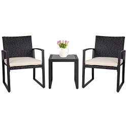 SUNLEI 3 Pieces Patio Set Outdoor Wicker Patio Furniture Sets Modern Bistro Set Molded Rattan Ch ...