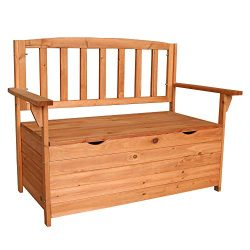 Festnight Outdoor Storage Bench Fir Wood Armchair with Backrest Garden Deck Box Container Multif ...