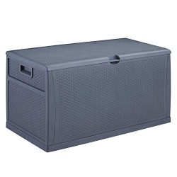 Ainfox Patio Storage Deck Box, Outdoor Storage Plastic Bench Box – All Weather Resin Wicke ...