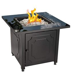 Blue Rhino Outdoor Propane Gas Fire Pit with Black Glass Top and White Fire Glass – Add Wa ...