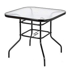 VINGLI Outdoor Dining Table, 32″ Square Patio Bistro Tempered Glass Table Top with Umbrell ...