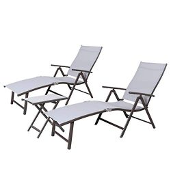 Crestlive Products Aluminum Beach Yard Pool Folding Recliner Adjustable Chaise Lounge Chair and  ...