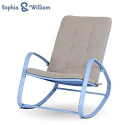 Sophia and William Outdoor Patio Rocking Chair Padded Steel Rocker Chair Support 300lbs, Blue