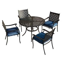 LOKATSE HOME 5 Piece Outdoor Patio Metal Dining Set with 4 Iron Arm Chairs with Seat Cushions an ...