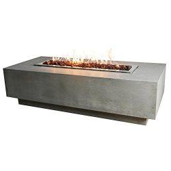 Elementi Granville Fire Table Cast Concrete Natural Gas Fire Table, Outdoor Fire Pit Fire Table/ ...