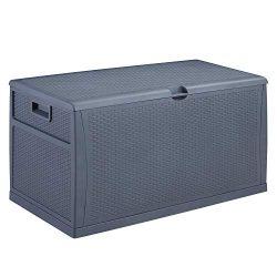 Patio Deck Box Outdoor Storage Plastic Bench Box,120-Gallon (Grey)