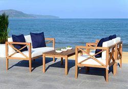 Safavieh PAT7031A Collection Nunzio Teak and White and Navy 4 Pc Accent Pillows Outdoor Set, Nat ...