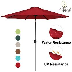 Grand Patio 9 FT Enhanced Aluminum Patio Umbrella, UV Protected Outdoor Umbrella with Auto Crank ...