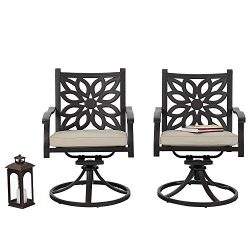 PHI VILLA Cast Aluminum Extra Wide Rocker Swivel Chairs Outdoor Patio Bistro Dining Chair with C ...
