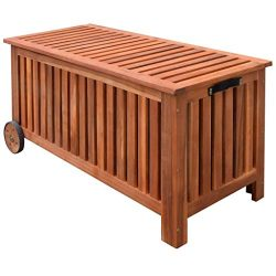 Festnight Wood Outdoor Storage Bench with 2 Wheels Garden Deck Box Container Multifunctional Pat ...