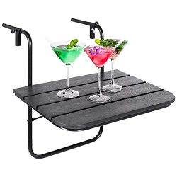 Best Choice Products Portable Folding Hanging Compact Balcony Railing Table Serving Side Stand f ...