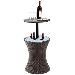 Display4top 7.5-Gal Cool Bar Rattan Style Outdoor Patio Pool Cooler Table with Height Adjustable ...