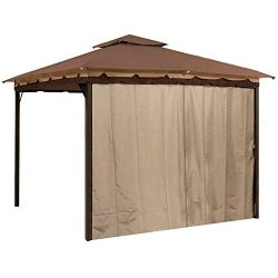 Sunjoy Gazebo Privacy Panel Side Wall fits 10′ and 12′ Gazebos (Brown Four Pack)