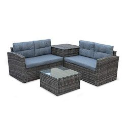Decor Hut 4 Piece Outdoor Rattan Wicker Sofa Set Conversation Set – Patio Sunroom Lawn Bac ...