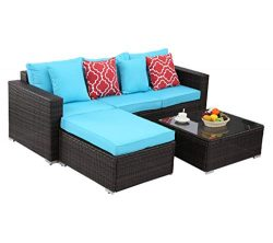 Do4U Patio Sofa 4 Pieces Set Outdoor Furniture Sectional All-Weather Wicker Rattan Sofa Turquois ...