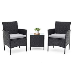 LAHAINA Patio Furniture Set 3 Piece Outdoor Wicker Bistro Set Rattan Chair Conversation Sets wit ...