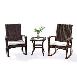 Tangkula 3 Piece Patio Furniture Set, Wicker Rattan Outdoor Patio Conversation Set, with 2 Cushi ...
