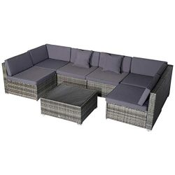 Outsunny 7 Piece Wicker Rattan Sofa Sectional Outdoor Patio Furniture Set – Grey