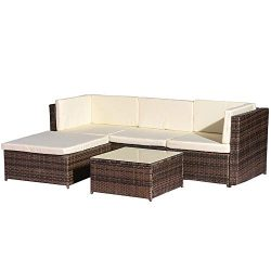 Rikis 5 Piece Outdoor Patio PE Rattan Wicker Sectional Sofa Furniture Set with Seat Cushions for ...