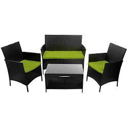 Tenozek 4 PCS Patio Furniture Outdoor Garden Conversation Wicker Sofa Set, Green Cushions