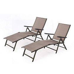 BANFANG Outdoor Chaise Lounge Chair – Folding Recliner Patio Pool Beach Sunny Adjustable L ...