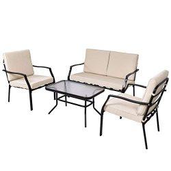 Tangkula Patio Furniture Set 4 Piece Outdoor Patio Coffee Table and Cushioned Sofa Sets Conversa ...
