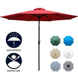Sunnyglade 9′ Patio Umbrella Outdoor Table Umbrella with 8 Sturdy Ribs (Red)