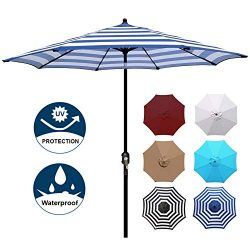 Blissun 9′ Patio Umbrella Aluminum Manual Push Button Tilt and Crank Garden Parasol (Blue  ...